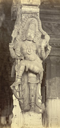 Madura. Pillar in Trimul Naik's Portico. Figure of watchman on right of entrance [to Pudu Mandapa]